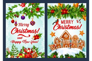 Christmas cookie and New Year garland card design
