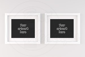 Set of 2 white empty frames mock up