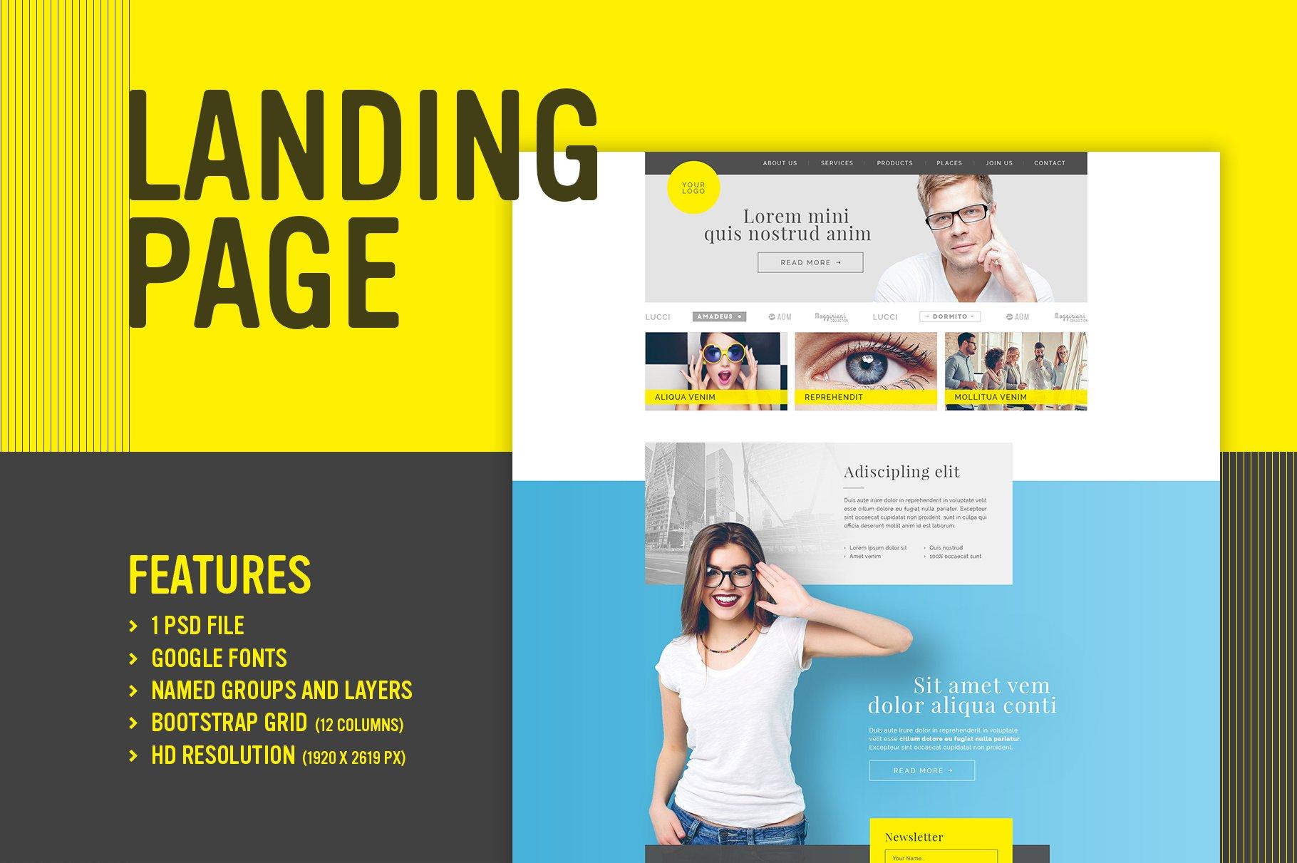 Yellow Me - Landing page (PSD) ~ Landing Page Templates ~ Creative