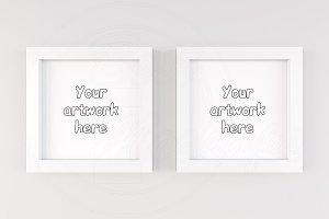 Modern white square frame mock ups