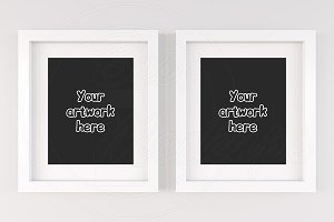 Set of 2 frames mockup white matt