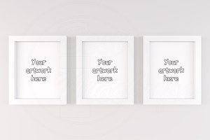 Three poster frame mockup 8x10 inch