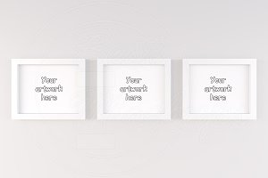 3 minimal white frame room mock ups