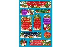 Christmas and New Year holidays gift tag design