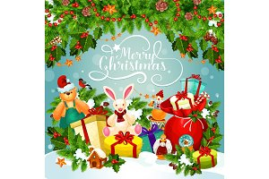 Christmas and New Year poster of Xmas holiday gift