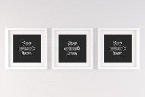 Set of 3 handing square frame mockup