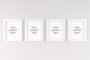 Set of 4 white cute frame mockup 4:5