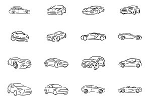 Automobile icon illustration set