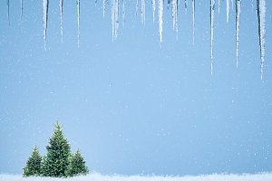 Beautiful Christmas background with icicles, Christmas trees and snow