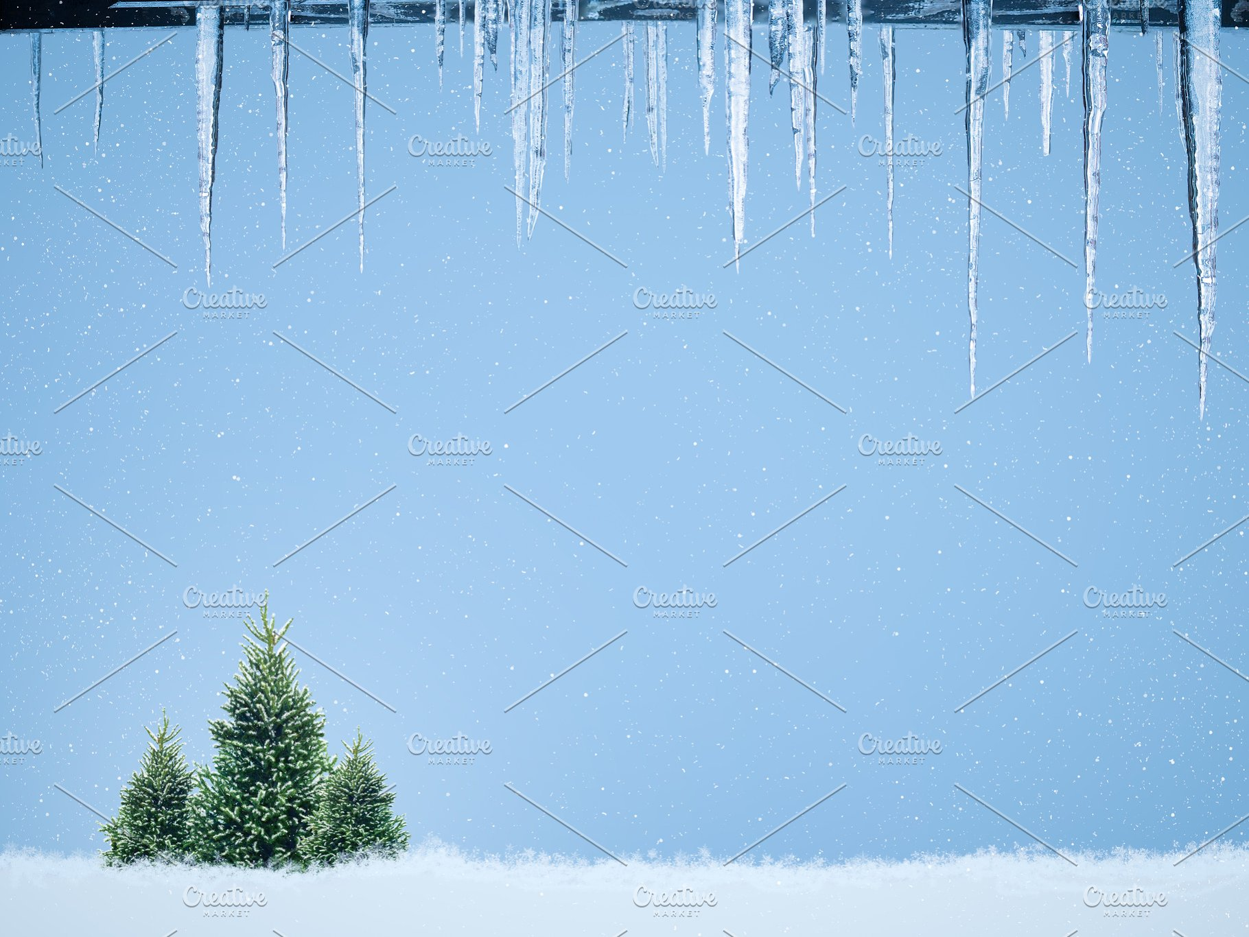Icicles For Christmas Trees.Beautiful Christmas Background With Icicles Christmas Trees And Snow