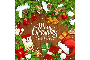 Christmas gift festive poster on wooden background