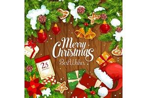 Christmas gift festive poster on wooden background