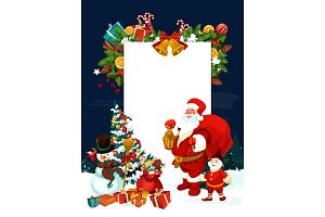 Christmas greeting card of Santa Claus with banner