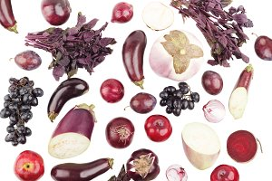 Set of different violet raw vegetables and fruits, isolated on white