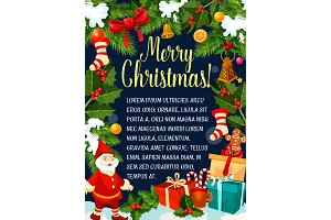 Christmas decorations gifts vector greeting card
