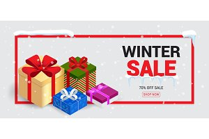 Winter sale card or banner. Discount offer price label, symbol for advertising campaign in retail, sale promo marketing, 70 off discount sticker, ad offer on shopping day