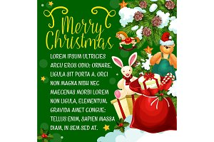 Christmas gift card of New Year winter holiday