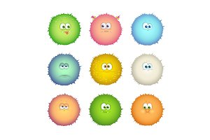 Set of funny colorful monsters, emoticons isolated on white background.