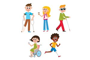 Cartoon people with injuries and disabilities