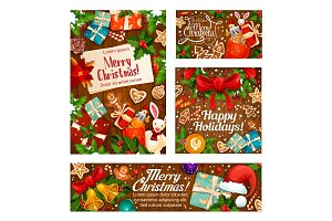 Christmas gifts greeting card on wooden background