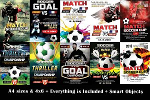 10 Soccer Cup Flyer Bundle