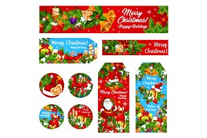 Christmas holiday wish vector greeting banner card