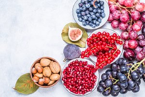 Berries, fruits and nuts.