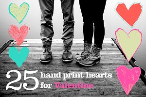 25 hearts hand print and patterns