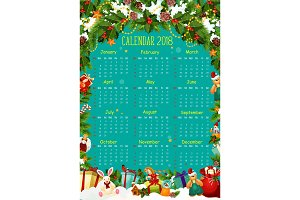 Calendar template with Christmas tree and gift