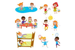 Cartoon set of kids on vacation in summer camp