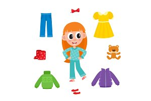 Little girl in pajamas and her wardrobe, clothes