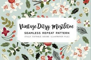 Vintage Ditsy Mistletoe Pattern AI