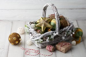 Christmas decorations basket on whit