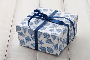 Blue and white Christmas gift or pre