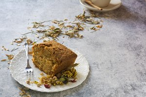 Carrot cake dessert with autumn deco