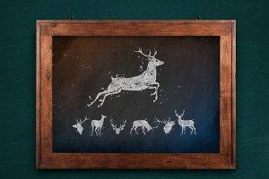 Grunge deer silhouette set + bonus