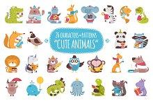 26 Cute Animals + 3 patterns