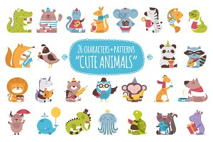 26 Cute Animals + 3 patterns