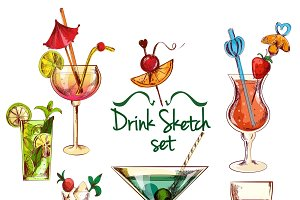 Sketch alcoholic cocktail set