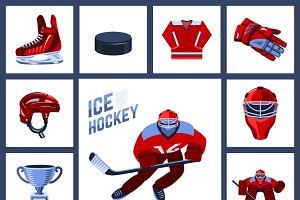 Ice hockey icon set