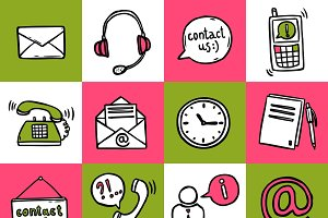 Contact us sketch icons set