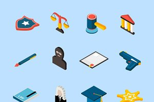 Law and judgment isometric icons