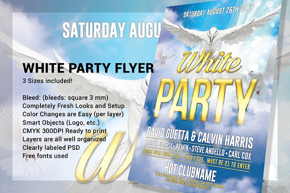 white party flyers flyer templates creative market