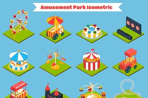 Amusement park isometric icons
