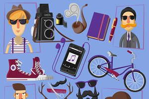 Hipster flat icons composition