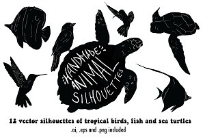 Handmade vector animal silhouettes