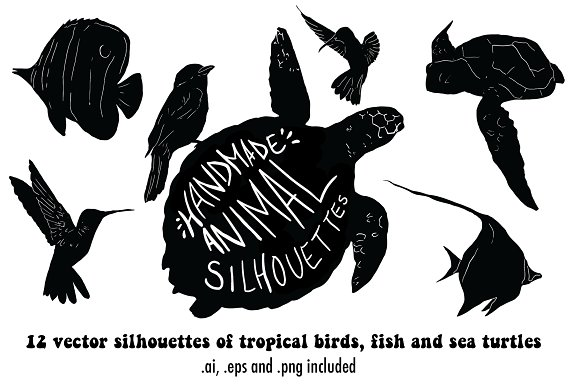 Handmade vector animal silhouettes