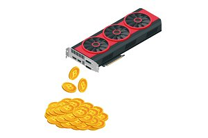 Isometric Mining Farm crypto Bitcoin or Mining video card, Miner of GPU, Technology extraction crypto currency, Virtual money