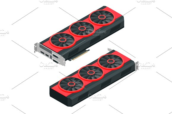 Isometric Mining Farm Crypto Bitcoin Or Mining Video Card Miner Of GPU Technology Extraction Crypto Currency Virtual Money