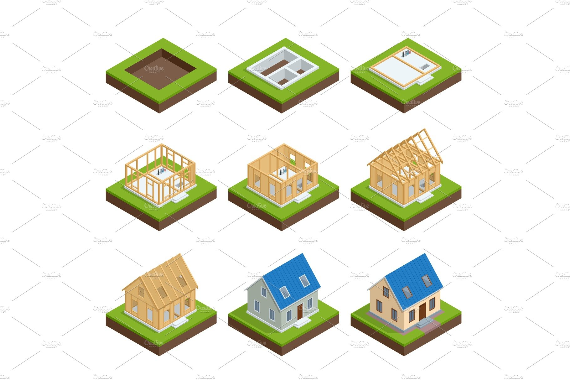 Isometric set stage by stage construction of a blockhouse for Process of building a new house